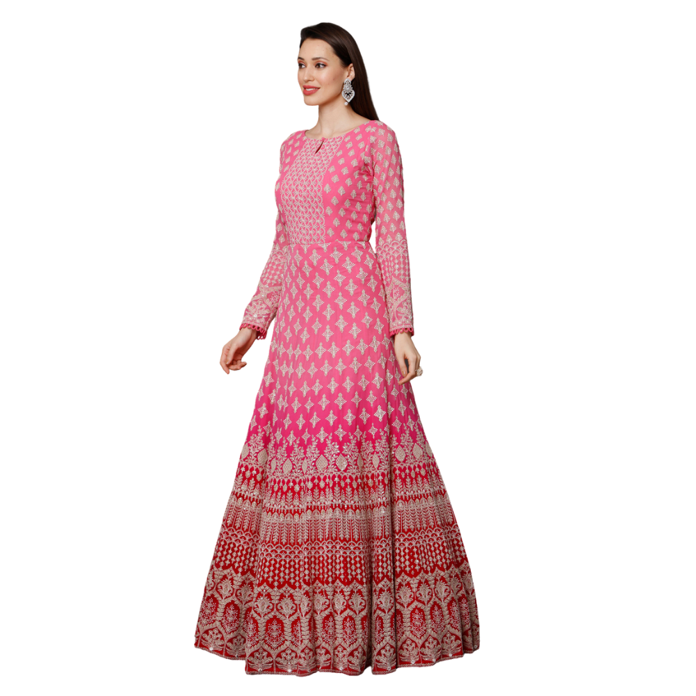 Ombré pink embroidered Anarkali suit