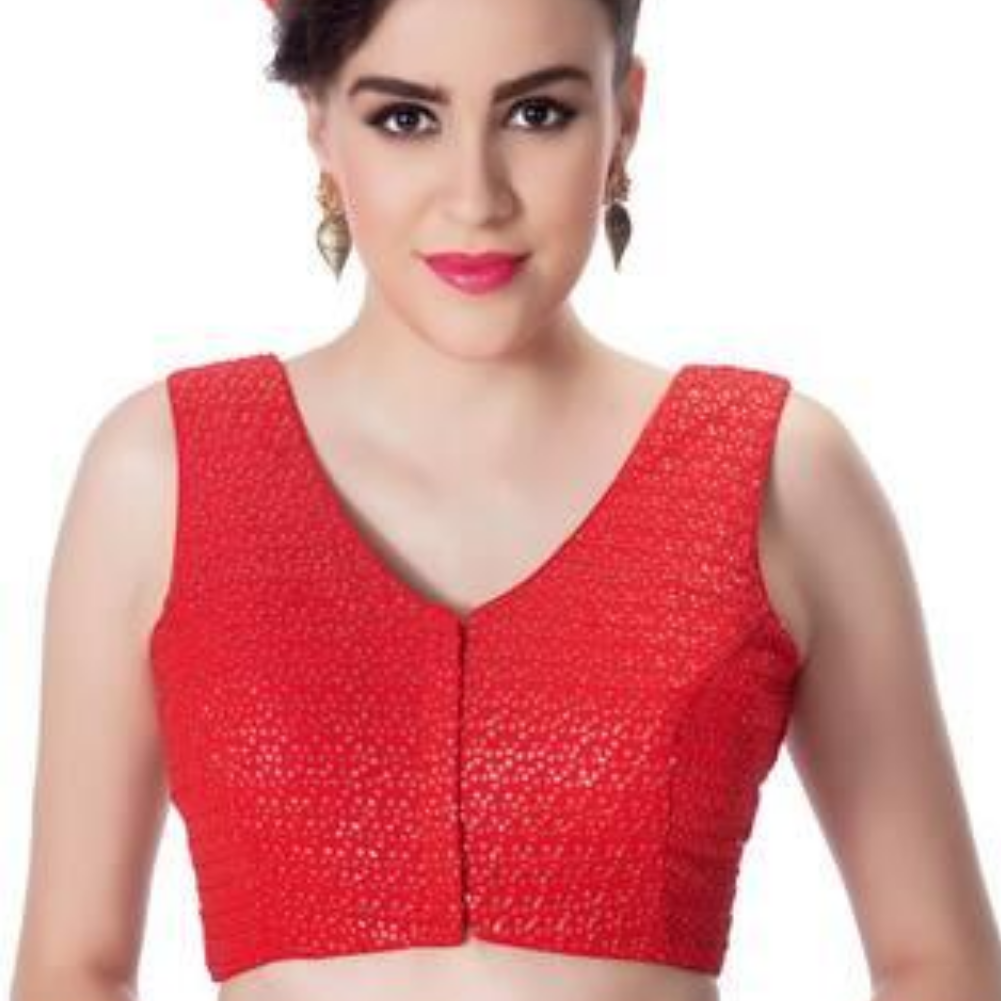 Womens Red Designer V Neck Tikkli Work Cotton Princess Cut Padded Sleeveless Readymade Saree Blouse