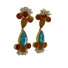 Load image into Gallery viewer, Semi precious long beaded earrings