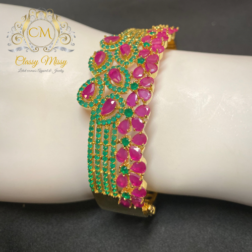 Pink Green CZ Gold Plated kada