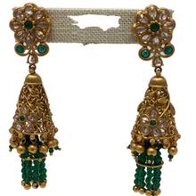 Load image into Gallery viewer, Kundan Earrings with hanging strings