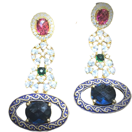 American Diamond Studded Blue And Pink Earrings