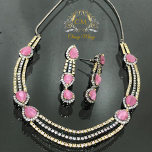 Load image into Gallery viewer, Pink Stone CZ Necklace set