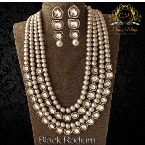 Kundan Black Rodium Beads Mala Heavy Long Necklace - Classy Missy by Gur