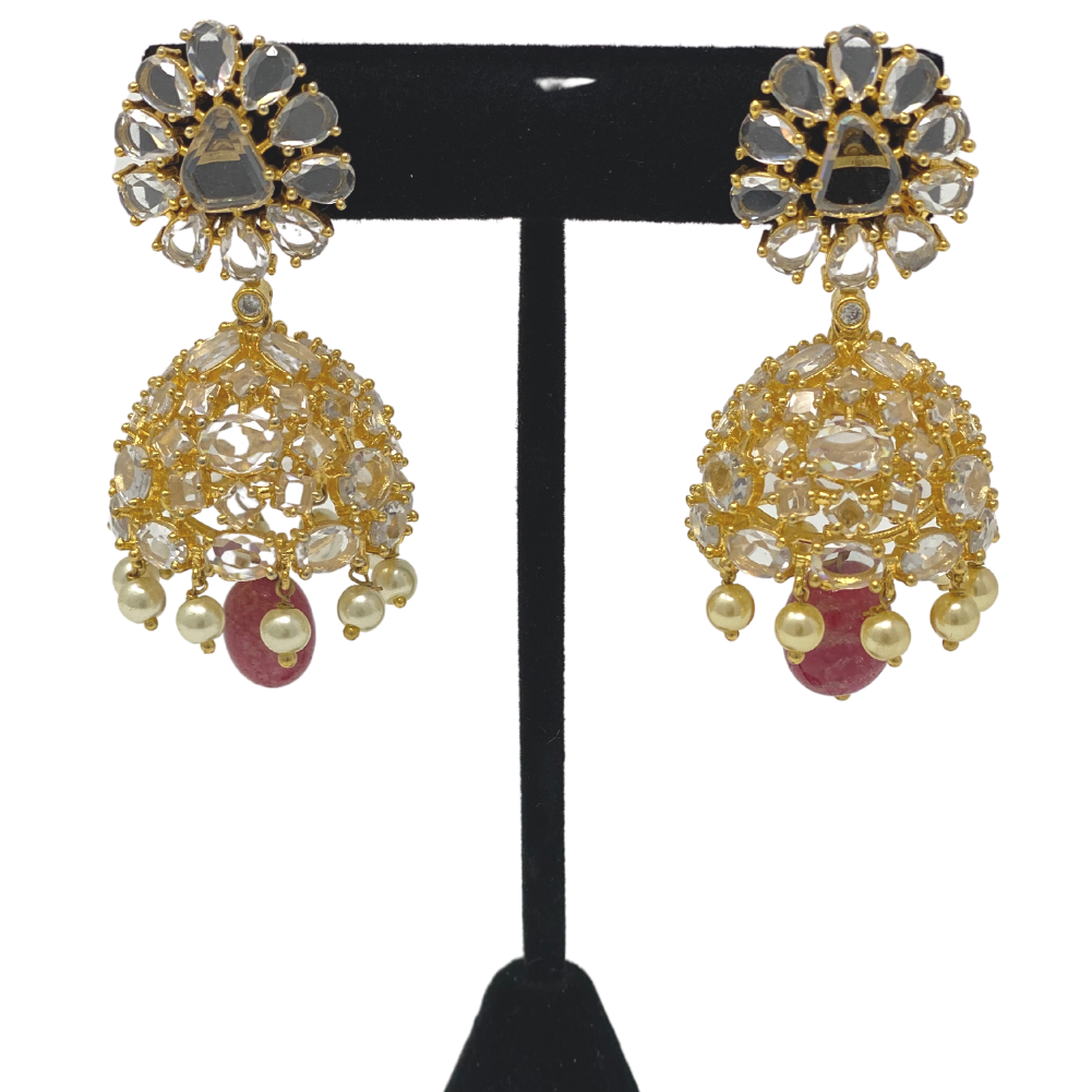 AD Jhumka Earrings with hanging Pearl