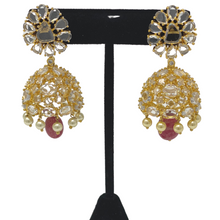 Load image into Gallery viewer, AD Jhumka Earrings with hanging Pearl