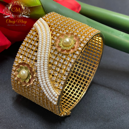 CZ Gold Plated Designer Stone studded Kada / Bangle