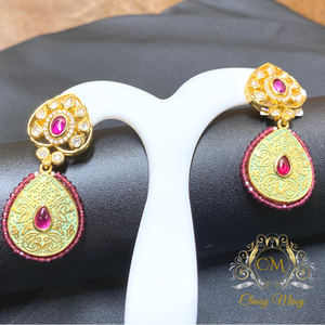 Stone studded Meenakari Pearl Earrings