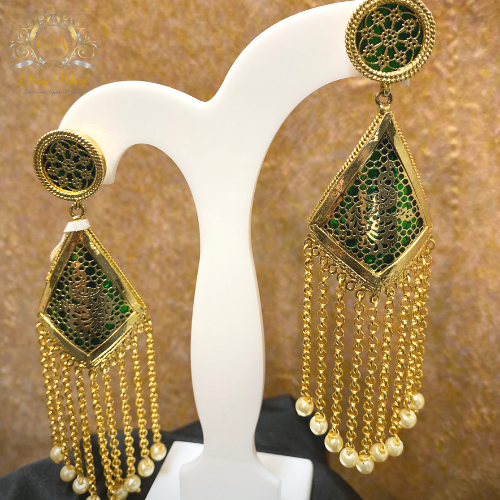 Green Triangular Dangler Earrings