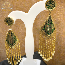 Load image into Gallery viewer, Green Triangular Dangler Earrings