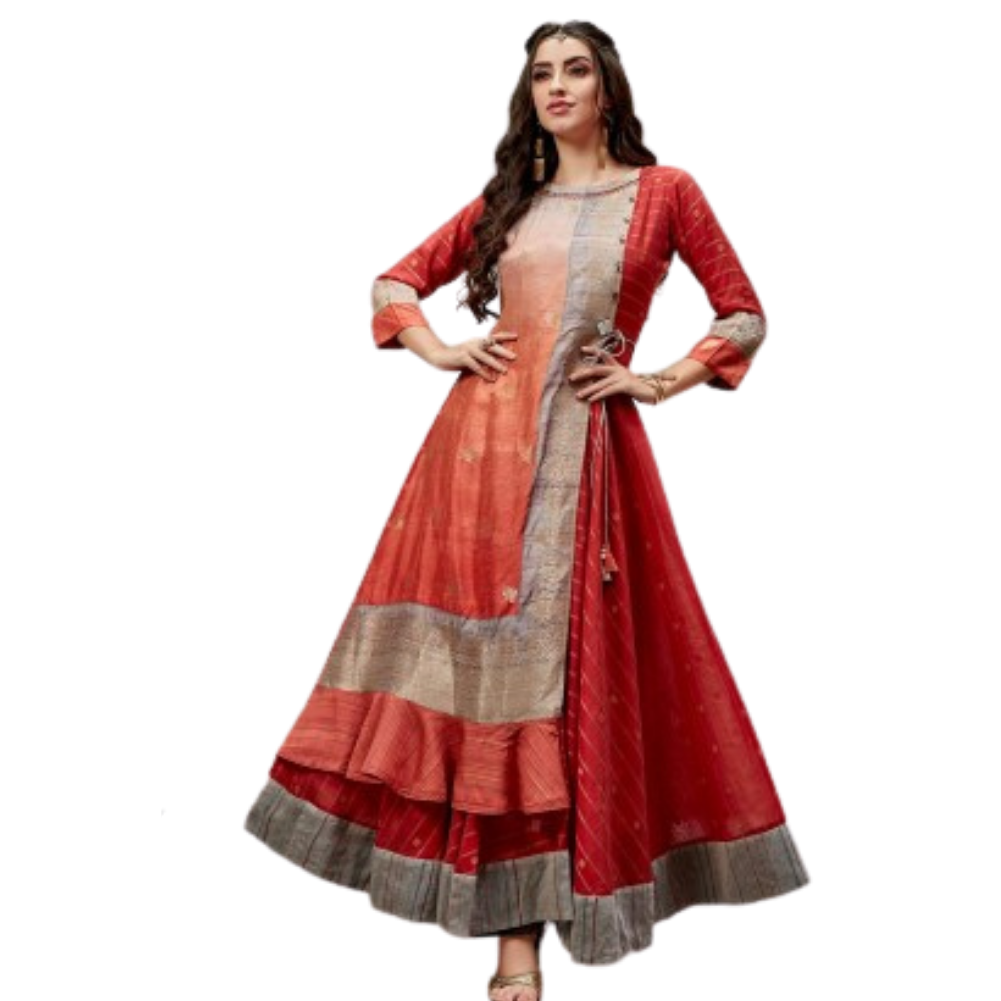 Red Festive Wear Cotton Silk Anarkali Kurti