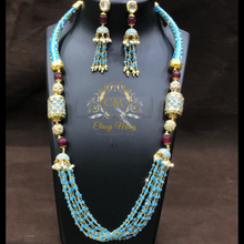 Load image into Gallery viewer, Beautiful Meena work Kundan necklace and earrings weaved into beads.