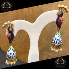Load image into Gallery viewer, Meenakari Blue and white Earrings