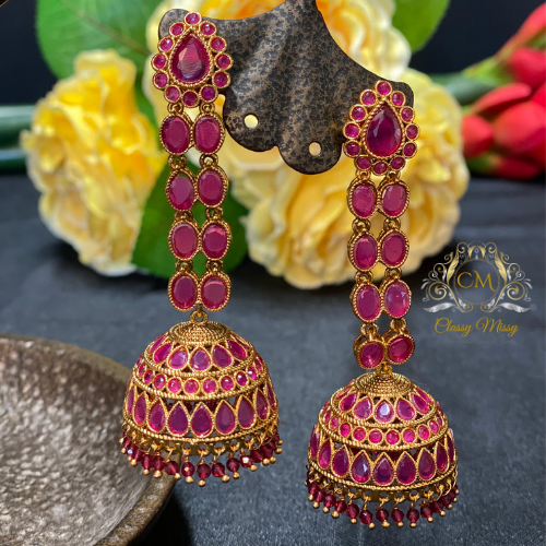 Pink Jhumka Earrings - Classy Missy by Gur