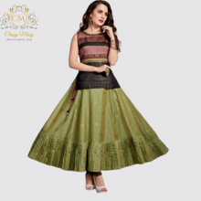 Load image into Gallery viewer, Green Cotton Silk Zari Weaving Anarkali Style Tunic