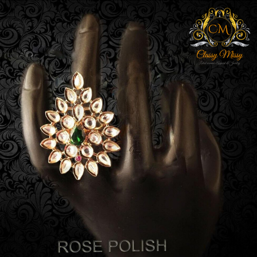 Paan Diamond heavy Ad Finger Ring - Classy Missy by Gur