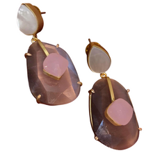 Load image into Gallery viewer, Shell and Quartz Earrings