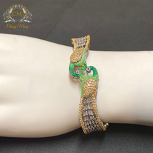 Load image into Gallery viewer, CZ Designer Silver and Green Peacock Kada