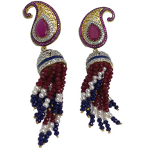 Load image into Gallery viewer, Multi-color earrings with beaded strings