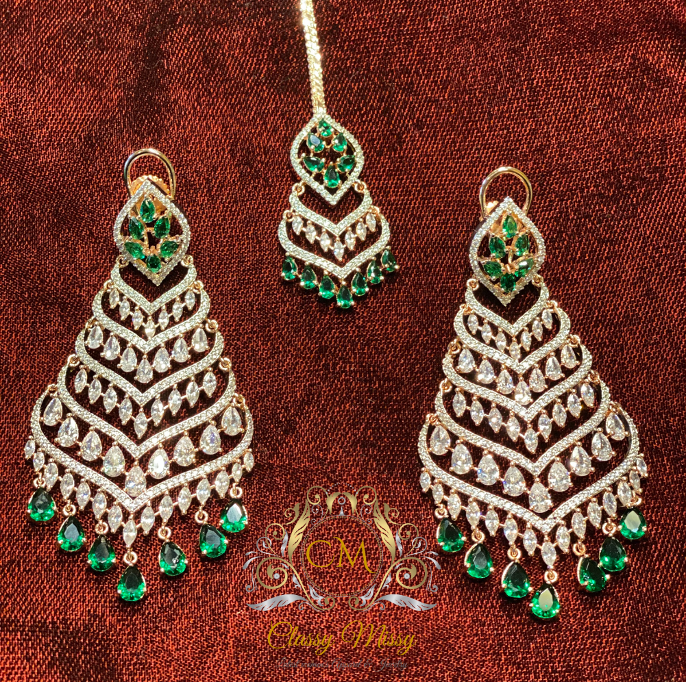 Stone studded Long Earrings with Mang Tikka