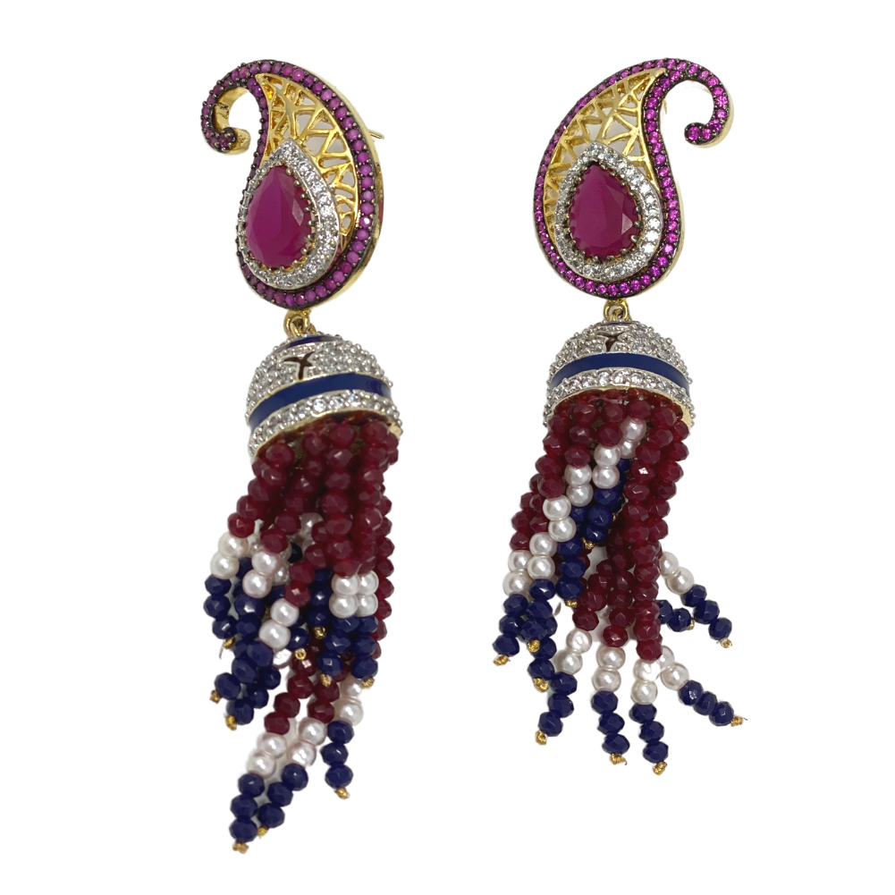 Multi-color earrings with beaded strings