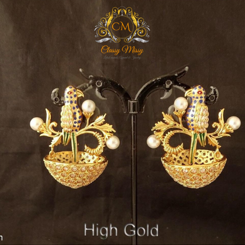 Birds Design Jhumka Antique Earring - Classy Missy by Gur