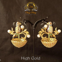 Load image into Gallery viewer, Birds Design Jhumka Antique Earring - Classy Missy by Gur