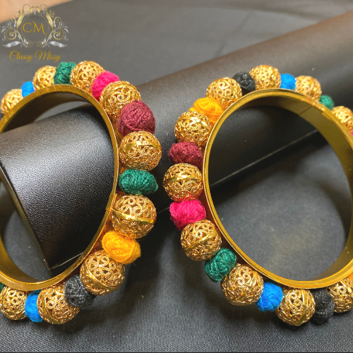 Traditional multi-color Gold plated bangle set