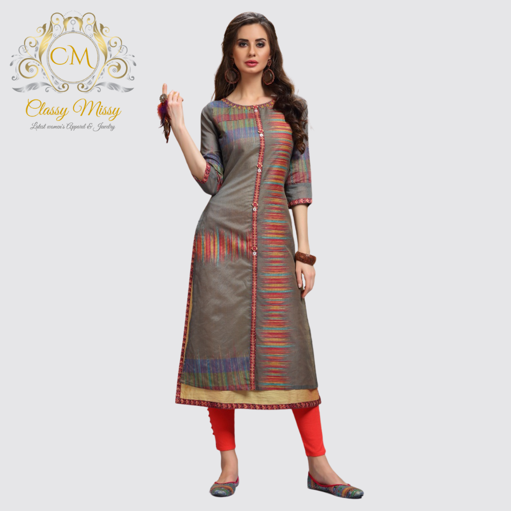 Round Neck Cotton Silk Kurti