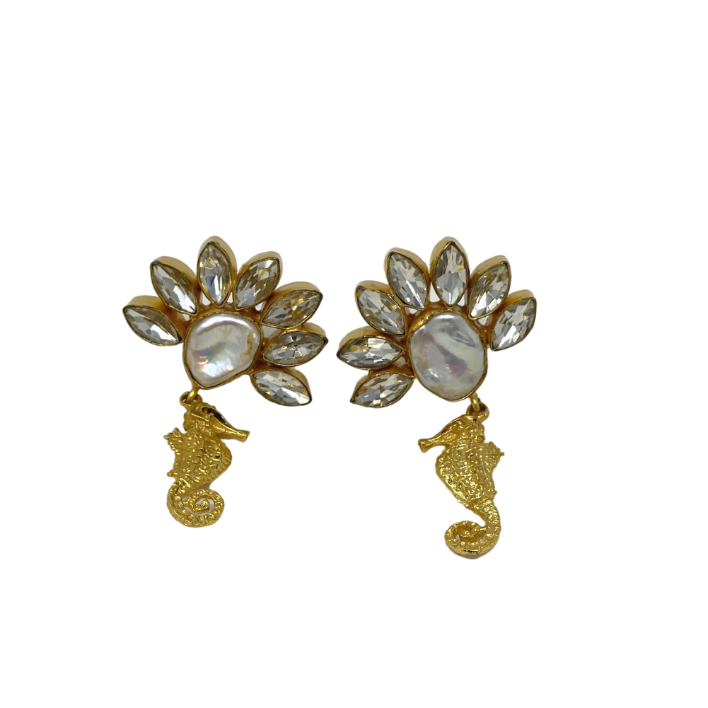 Long Stone Studded Earrings