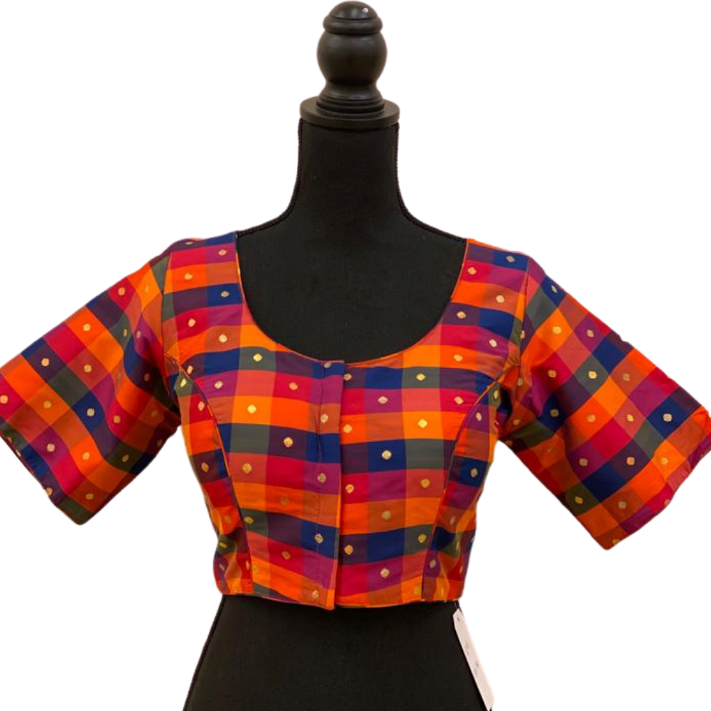 Women's Multicolored Design Gold Shining Ready-made Blouse