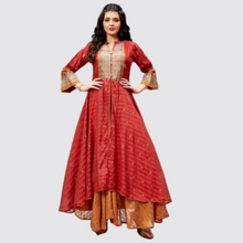 Load image into Gallery viewer, Pretty Red Cotton Silk Double Layer Style Kurti