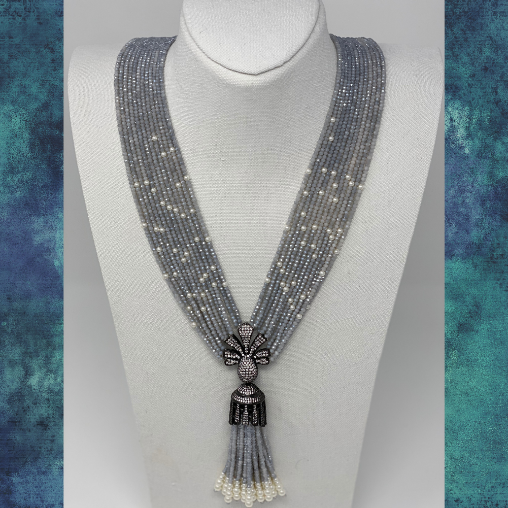 Layered Beaded Tassel Necklace