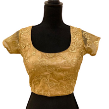 Load image into Gallery viewer, Gold Designer Net Princess Cut Padded Readymade Saree Blouse