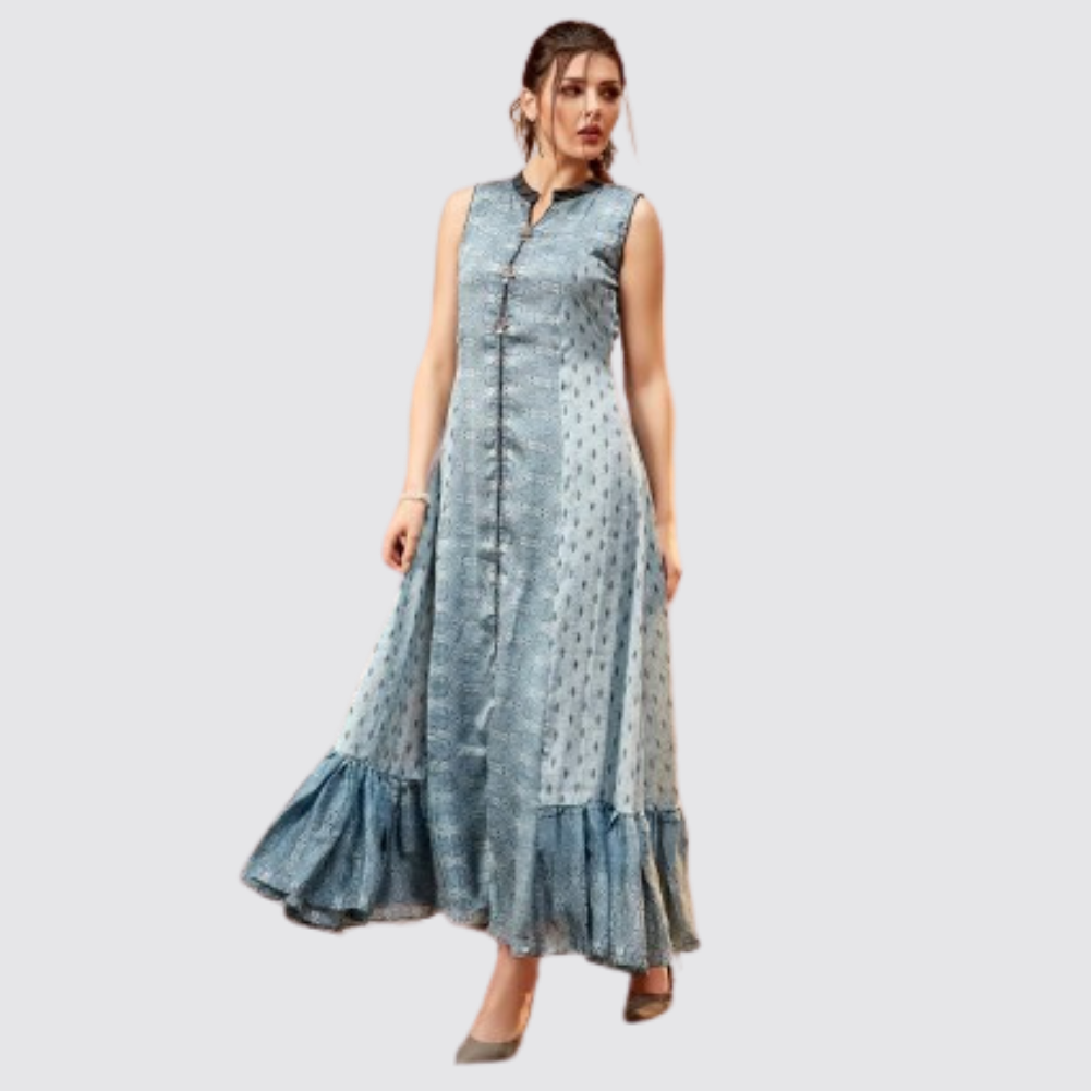 Grey Printed Cotton Silk Chinese Neck Kurti