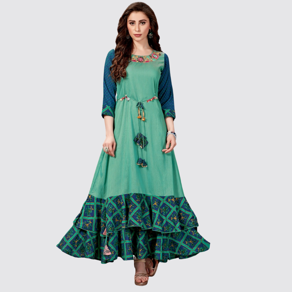Green Cotton Silk Solid Long Kurti