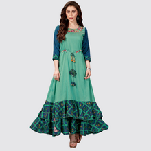 Load image into Gallery viewer, Green Cotton Silk Solid Long Kurti