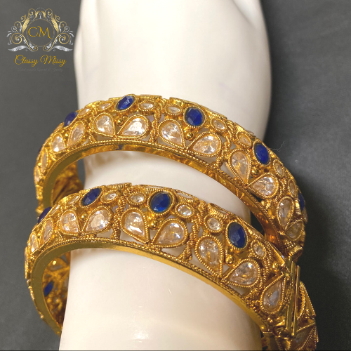 Stone studded Gold plated blue and silver bangles