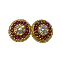 Load image into Gallery viewer, Meenakari Stone and beads Studded Earrings
