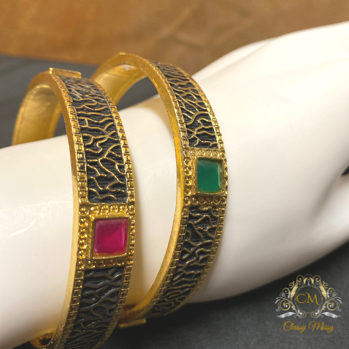 Antique stone studded multi-color Bangles