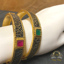 Load image into Gallery viewer, Antique stone studded multi-color Bangles