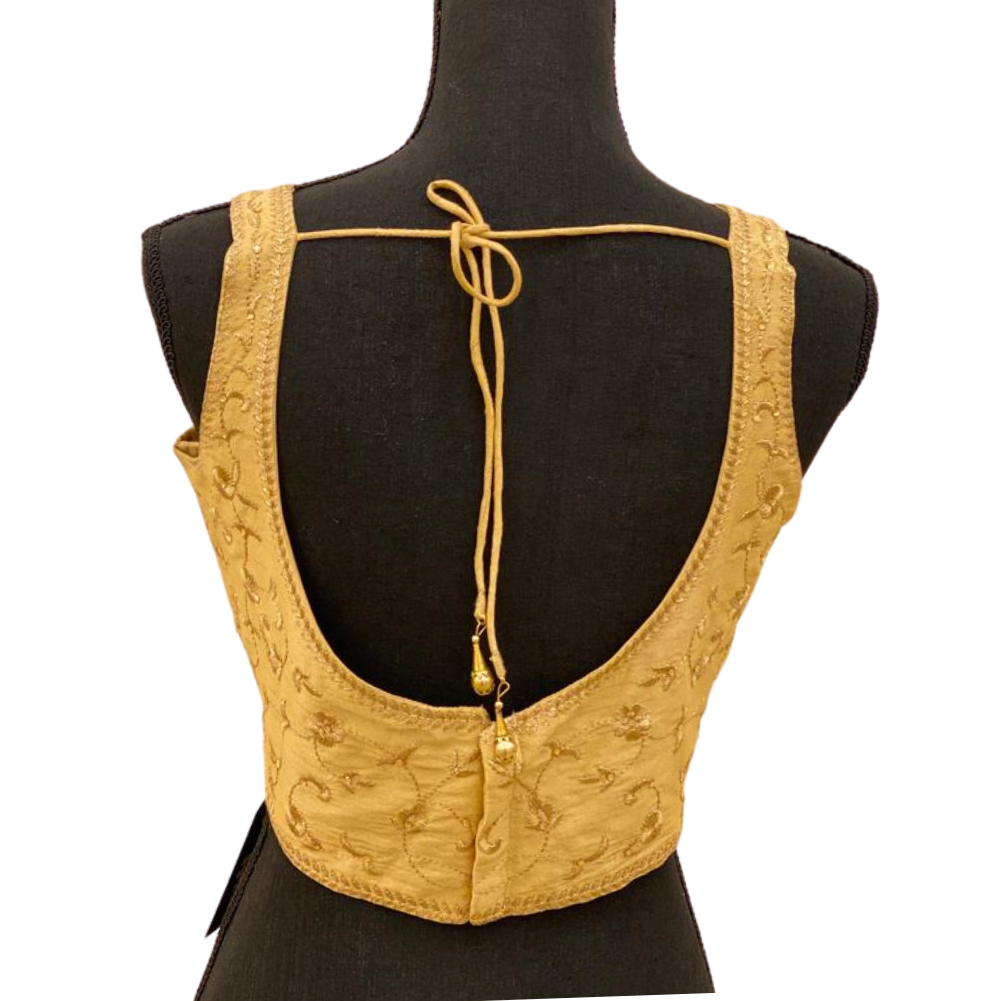 Women's Gold Embroidered Princess Cut Padded Readymade Saree Blouse
