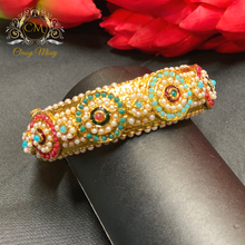 Load image into Gallery viewer, Jadau Pearl and Multi-Color stone kada