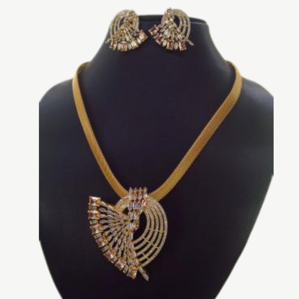 AD / CZ Golden planting necklace set