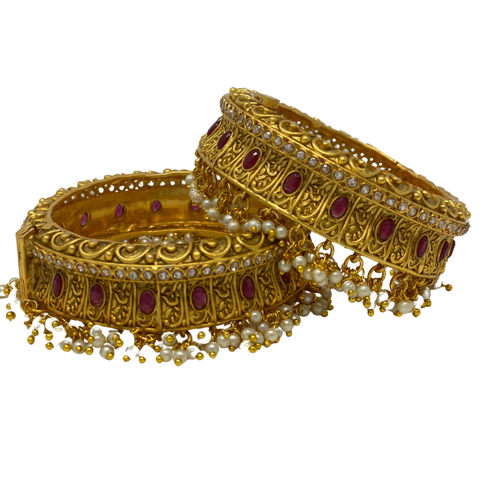Gold plated hanging beads with Ruby - Kada