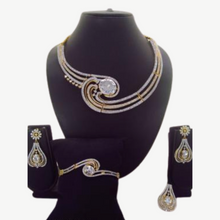Load image into Gallery viewer, Silver stone necklace set with Bracelet & Ring