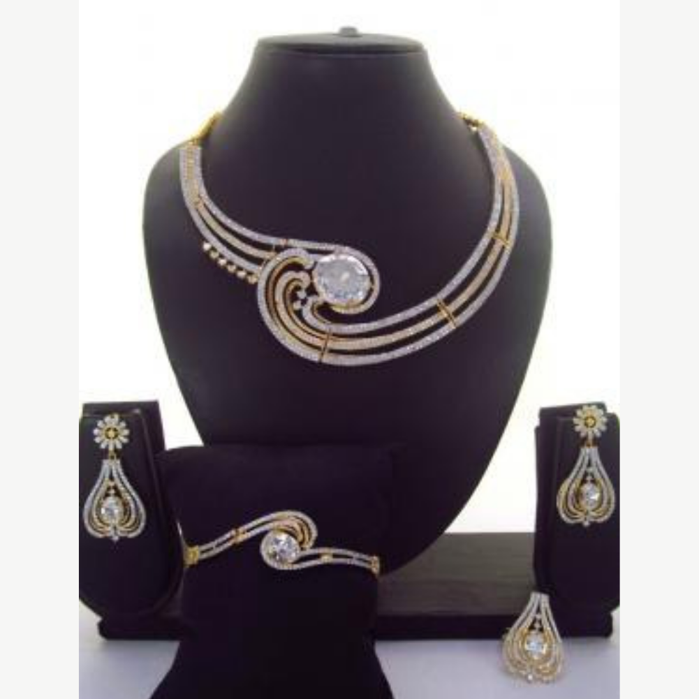 Silver stone necklace set with Bracelet & Ring