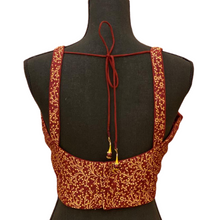 Load image into Gallery viewer, Women's Brocade Designer spaghetti Strap Readymade Saree Blouse