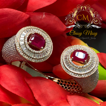 Load image into Gallery viewer, Designer CZ with Ruby adjustable Silver Kada / Bangle