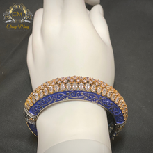 Load image into Gallery viewer, CZ Stone blue Meenakari Kada